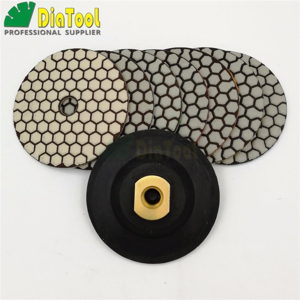 DIATOOL 7pcs 4inch Dry Diamond Polishing Pads And Rubber Backer DIA 100MM Resin Bond Diamond Flexible Polishing Pads