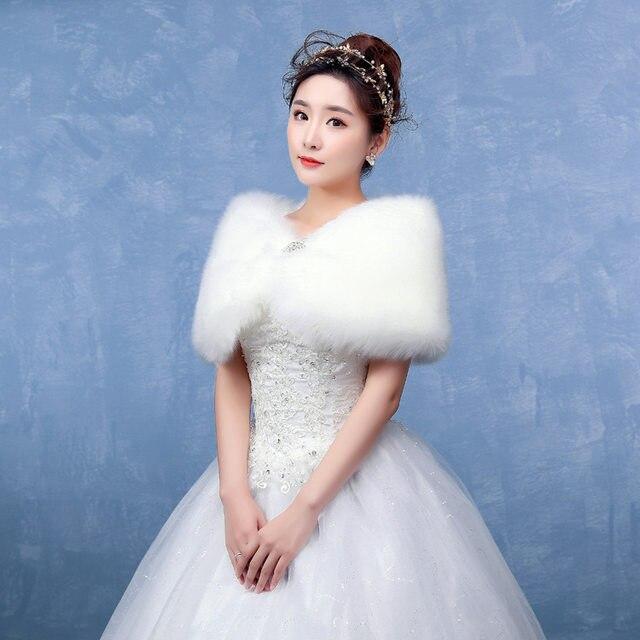 Online Shop winter wedding coat 2018 bridal shawl faux fur wedding ...