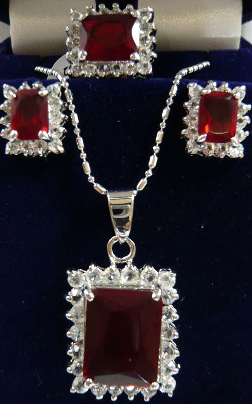 11.22 9 color fine pink/red/purple/blue 18KGP Box shaped zircon earring pendant ring can choose Discount 35%