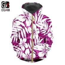 OGKB púrpura Hoodies hombres mujeres 2018 Sudaderas Hombre Hip Hop marca  flores frescas impresión cremallera Sudadera con capuch. 82842301383