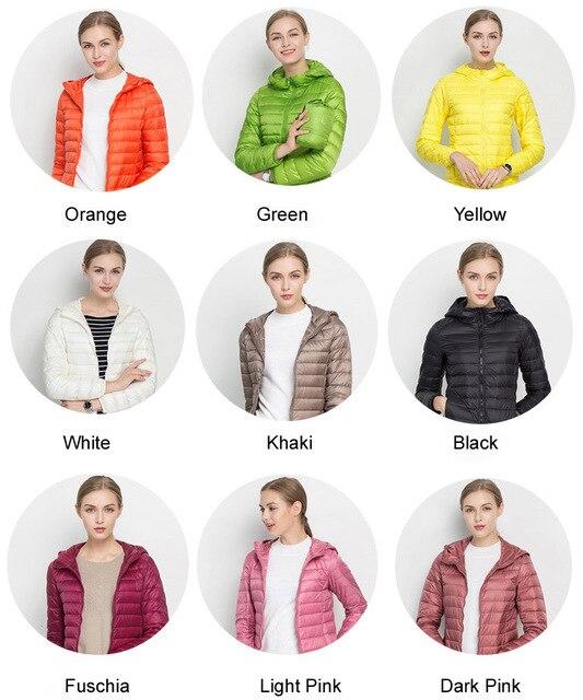Winter Women Ultra Light Down Jacket White Duck Down Hooded Jackets Long Sleeve Warm Coat Parka Female Solid Portable Outwear 4