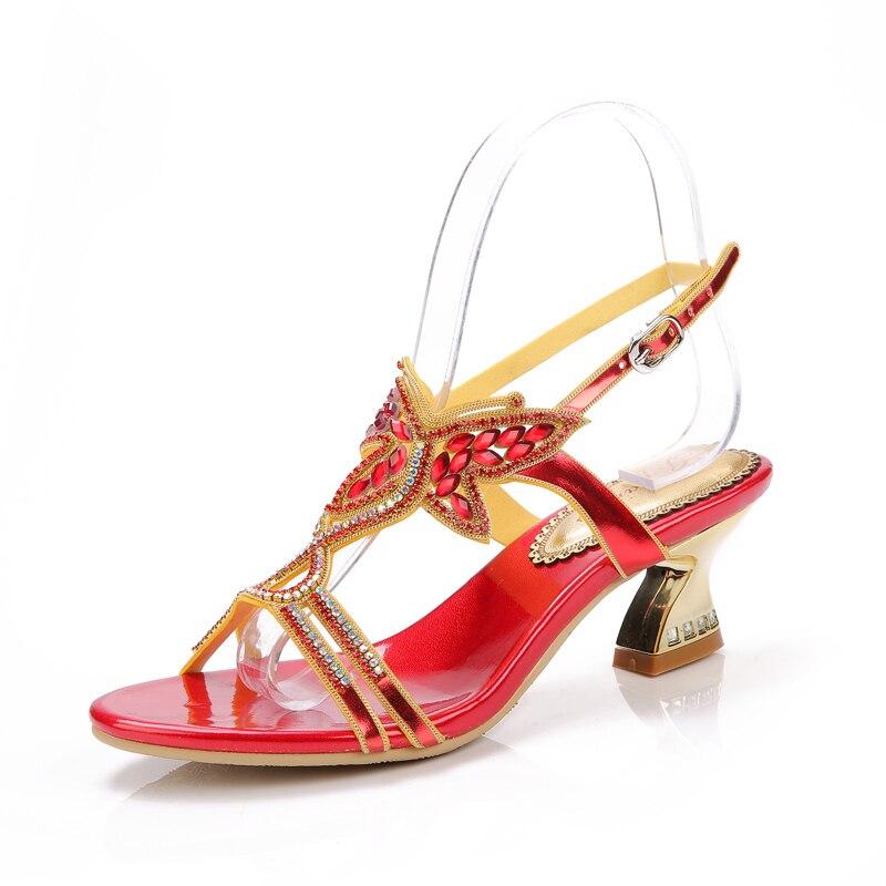 D'été Vente Baisse Color gold Danse Color Femmes Main Chaude Color red Chaussures Party Talon Confortable blue Expédition Color Moyen Sandales Black Rhinstone Mode De rFOrTqX