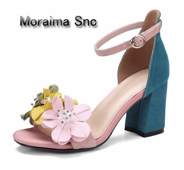 Moraima Snc ladies sandals sweet flower mixed colors gilrs shoes high heels sandals women pink blue zapatos mujer hot selling