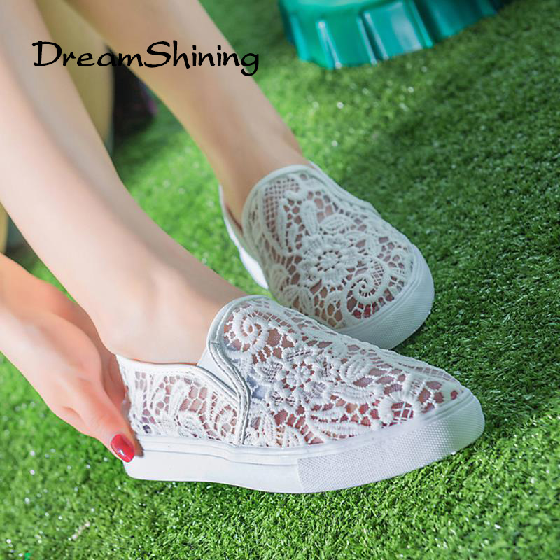 0107c50ea77 DreamShining Latest Design Hollow Out Shoes Fashion Summer Slipony Women  Footwear Comfortable Female Cute Lace Mesh Falt Shoes-in Women s Vulcanize  Shoes ...