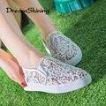 DreamShining Latest Design Hollow Out Shoes  Fashion Summer Slipony Women Footwear Comfortable Female Cute Lace Mesh Falt Shoes