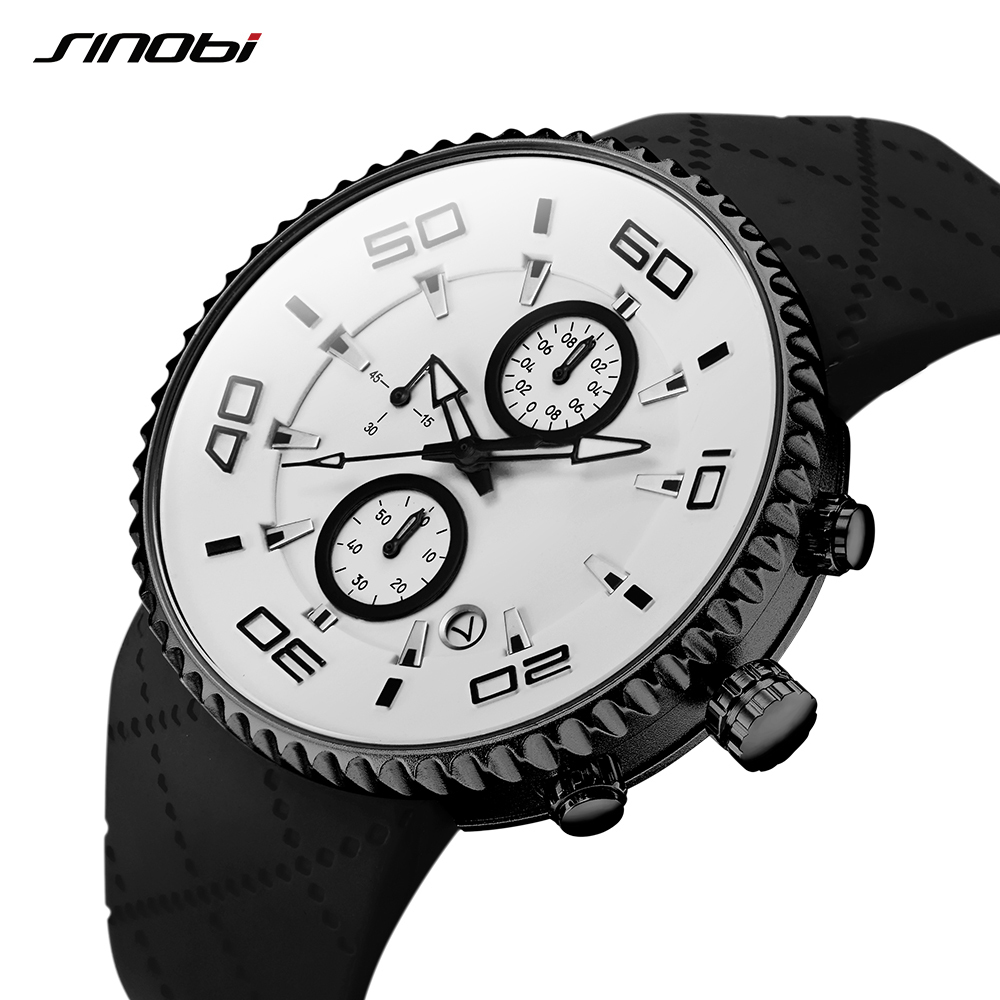 Sports Watches Fashion Men's Stopwatch SINOBI 30m Waterproof Silicone Band Sport Chronograph Watch 3 Colors relojes para hombre
