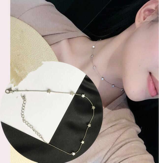 Moda simples cadeia de Talão rodada estrela Pentagrama colar gargantilha para as mulheres do punk chocker colar de jóias no pescoço meninas presente