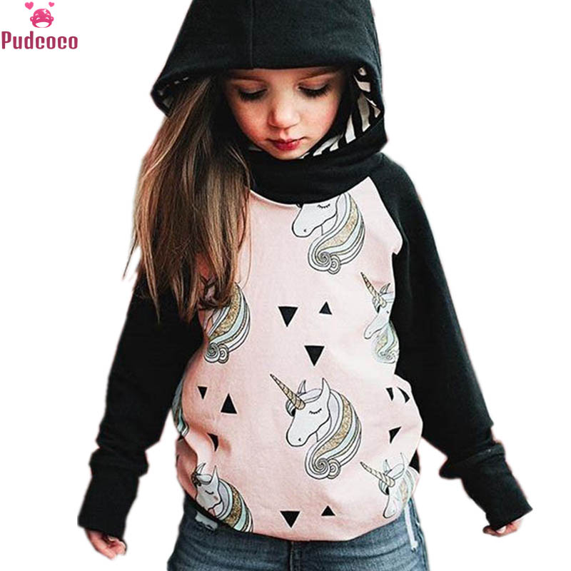 Child Unicorn Outerwear Girls Kids Tops Clothes Hoodie Pullover Jacket Coat 0-5T