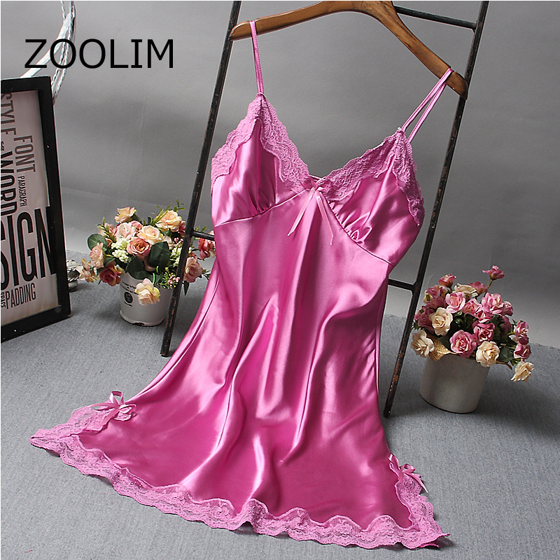 ZOOLIM Women Nightgowns Sleeping Shirt Sexy Lace Spaghetti Strap Silk Nightdress Plus Size M-2XL Nightwear Nightshirts