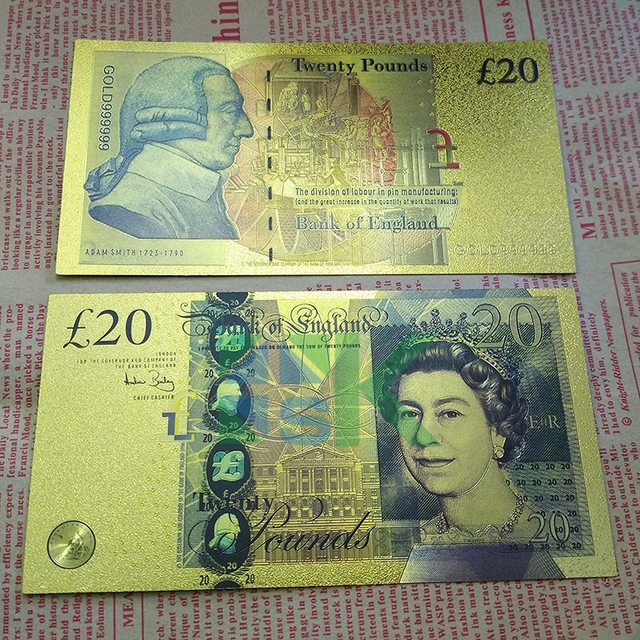 United Kingdom 20 Pounds Colorful Gold Foil Plated Double Designbanknote Paper Money