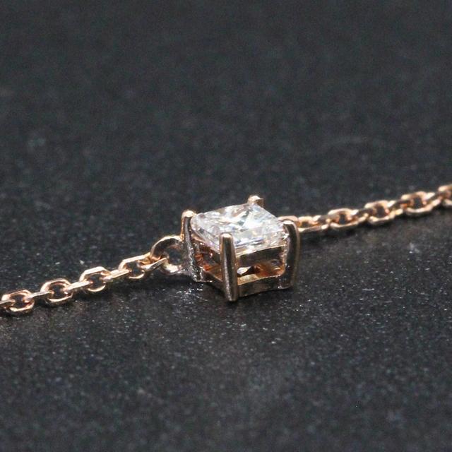 0.1CT Princess Cut Diamond 18K Rose Gold Solitaire Pendant Necklace