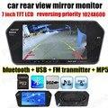 7 дюймов Цветной TFT LCD 1024x600 Bluetooth MP5 Монитор Автомобильная Стоянка Зеркало заднего вида вспять приоритет TF USB FM передатчик