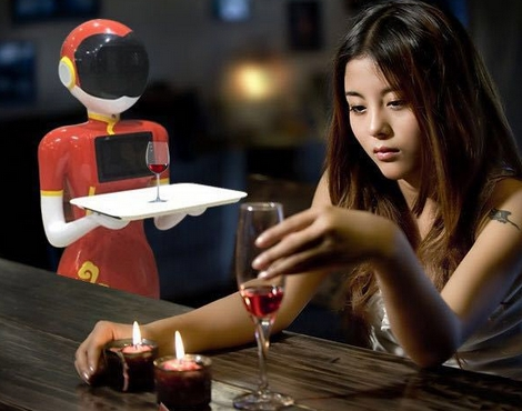 Smart Waiter Service Robot In The Restaurant Mobile Control Robot Service With Wheels