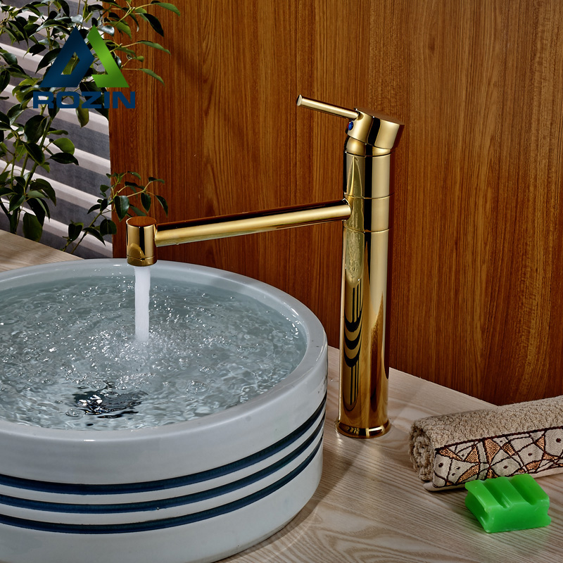 ФОТО Luxury Deck Mount Bathroom Sink Mixer Taps Single Handle Brass Golden Mixer Taps Basin Faucet