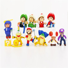 8-13cm Super Mario Bros Bowser Koopa Yoshi Maker Luigi Mushroom Fishing Wario PVC figure Kids Anime model Toys Gift