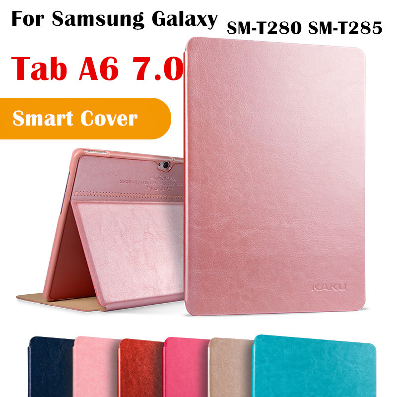 KAKU Tab A6 7.0 T280 Magent Flip Cover For Samsung Galaxy Tab A6 7.0 SM-T280 SM-T285 Tablet Case Smart Cover Protective shell case sleeve for samsung galaxy tab a a6 7 0 t280 t285 sm t280 sm t285 7inch tablet pc protective cover leather pu pouch cases
