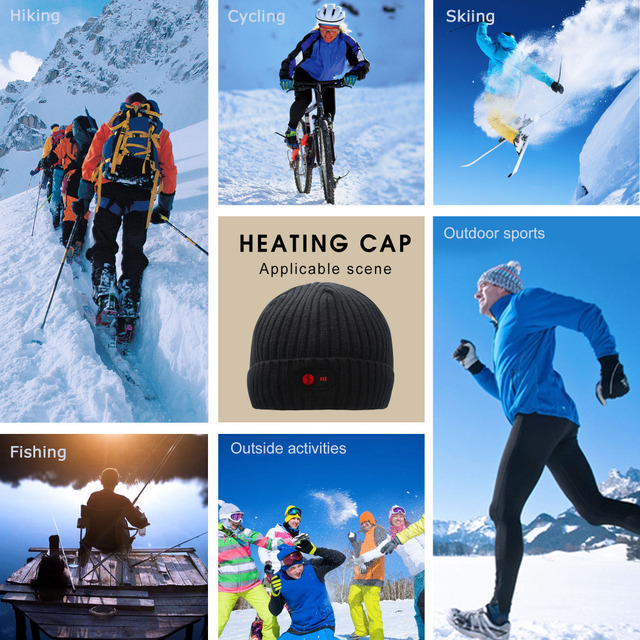 Unisex 7.4V Rechargeable Battery electric heated hat Beanies for winter cold weather 3 levels control men and women 5