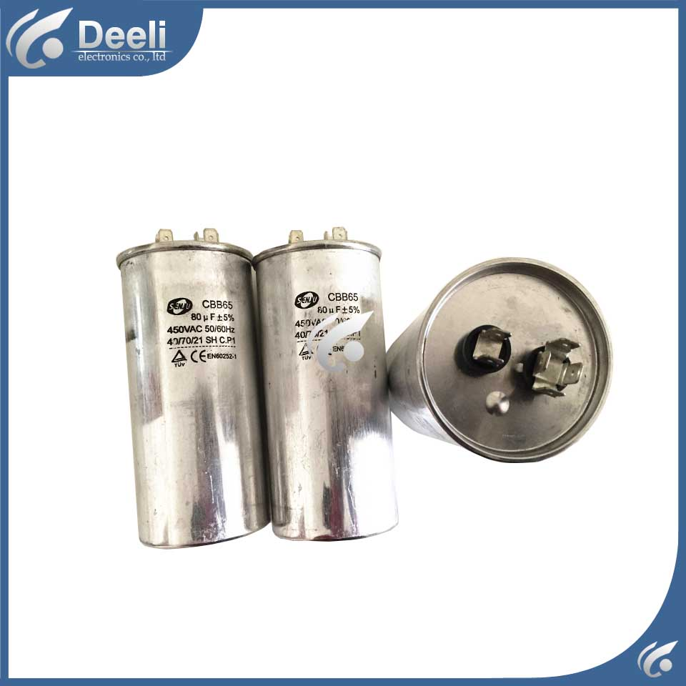 2pcs/lot new good working for Air conditioning capacitor CBB65 450VAC 20UF 30UF 35UF 80UF 70UF control board 800vdc 5uf 10uf 15uf 20uf 25uf 30uf 50uf 60uf 80uf 100uf 60a 65a 80a 5% high frequency resonant capacitor