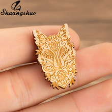 Shuangshuo Fox Enamel Brooches Pin For Women Wood Wooden Jackets Pin Buckle Shirt Badge Lapel Pins Fashion Jewelry Gifts bijoux(China)