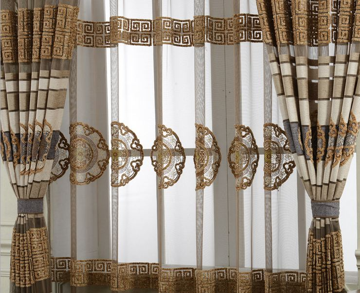 Awesome Translucent Sheer Bule/Brown And White Stripe Curtains For Study Room  Living Room Bedding Room Tulle Cortinas European Style