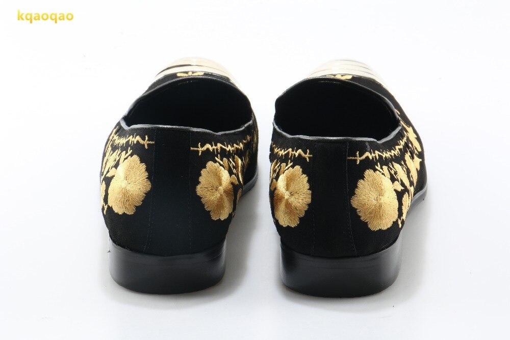 Metal Cuero Toe Hombres Partido Kqaoqao Mens Zapatos Mocasines Impresión Formal Bordado Oro Pisos Plana qUz86zt