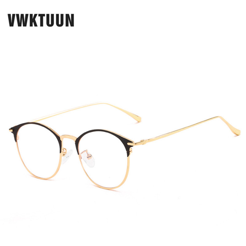 a7a89a3fc8 Detail Feedback Questions about VWKTUUN Half Frame Round Glasses Frame Women  Men Eyeglasses Optical Glasses Gold Eyeglasses Frames Male Female Fake  Glasses ...