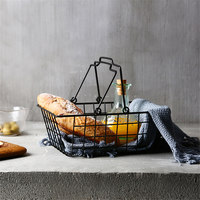 Nordic Minimalist Iron Fruit Basket with Handle Home Living Room Geometric Black Fruit Basket Snack Storage Basket Fruit Basin