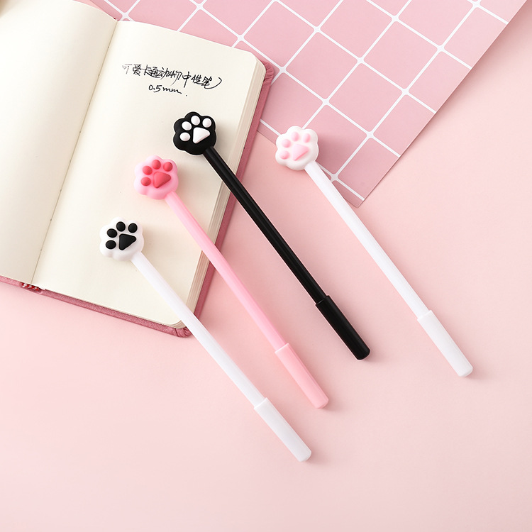 32 Pcs/lot Cute Cat Paw Gel Pen Lovely Pink Heart 0.5mm Signature Pen Escolar Papelaria School Office Supply Promotional Gift