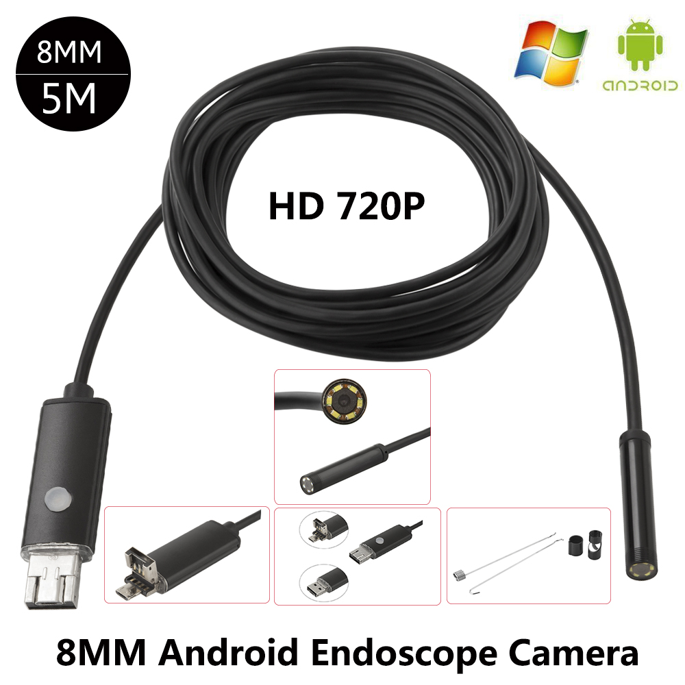 JCWHCAM 8MM Lens Android USB Endoscope 5M 6LEDs Inspection OTG Borescope Endoscop Waterproof Mini Camera For Android PC 2018 newest 4 9mm lens medical endoscope camera for otg android phone pc usb borescope inspection otoscope camera for ear nose
