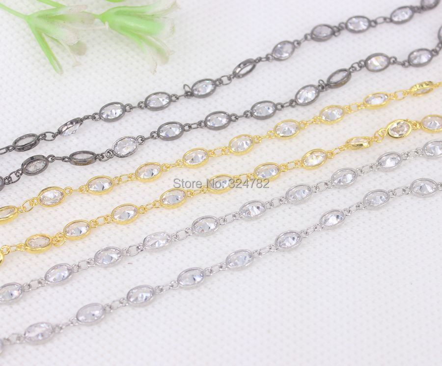 3Meter Cubic Zirconia 5x7mm Oval Beaded Chain With Mix color Brass Chain For Jewelry Making