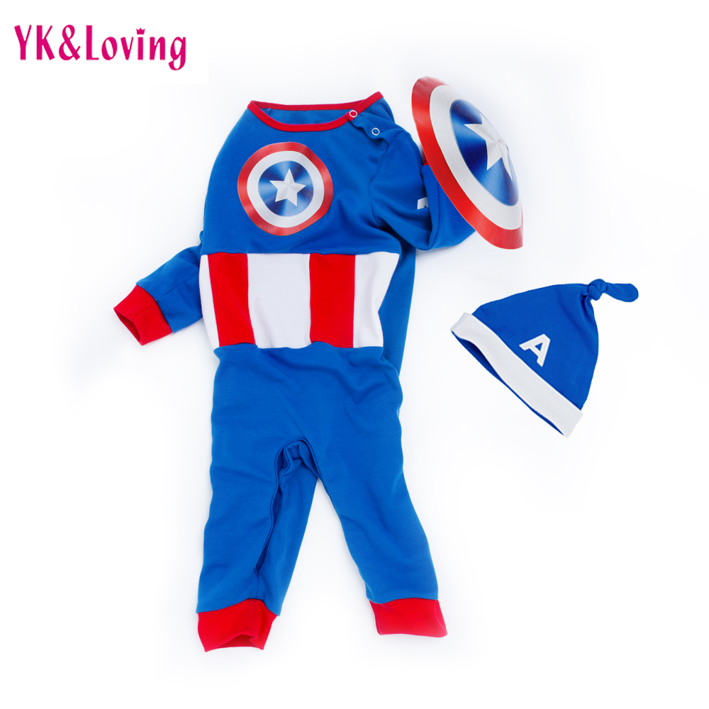 Captain America Clothes For Baby Boys girls 0-24 Month Rompers Cotton Long Sleeve Spring/Autumn Infant Cosplay Clothing Sets baby rompers cotton long sleeve 0 24m baby clothing for newborn baby captain clothes boys clothes ropa bebes jumpsuit custume