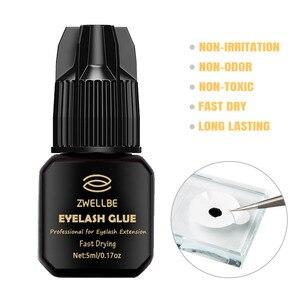Image 2 - zwellbe 5ml Eyelash Extension Glue 1 3 Seconds Fast Drying Eyelashes Glue Pro Lash Glue Black Adhesive Retention 5 7 weeks