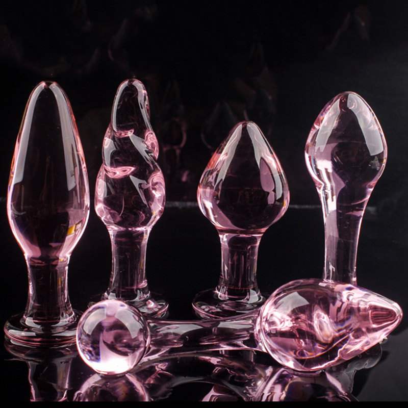 5 Style Crystal Butt Plugs <font><b>Set</b></font> Pyrex Glass <font><b>Anal</b></font> Dildo Ball Bead Fake Penis Female Masturbation <font><b>Sex</b></font> <font><b>Toy</b></font> for Adult Women Men Gay image