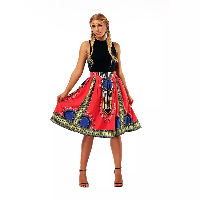 Fashion Boho African Dashiki Wax Print Flare Skirt Women Midi Elastic Waist Band Gathered Skirt Hippie Pleated Outfit For Ladies