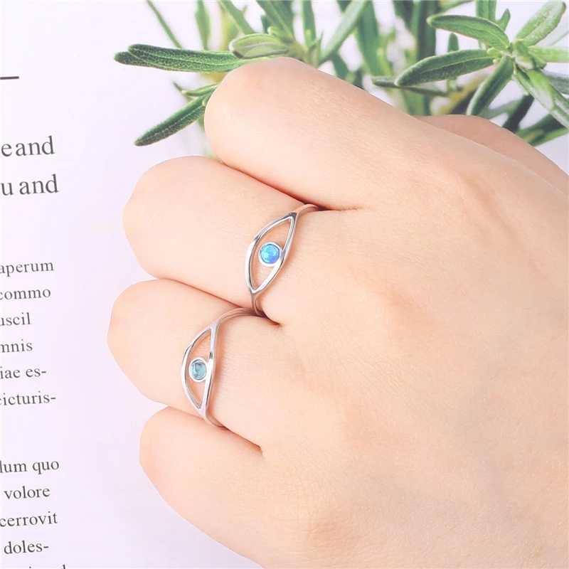 Blue Turquoise 925 Sterling Silver Ring For Women Blue Eye Love Rings Women's Exquisite Opal Engagement Wedding Ring Love Gifts