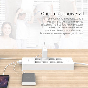 Image 5 - ORICO Electrical Socket EU Plug Extension Socket  Outlet Surge Protector EU Power Strip with 5x2.4A USB Super Charger Ports
