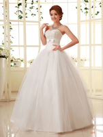 z 2016 stock new plus size bridal gown women wedding dress tube top bandage paillette bow lace up satin ball gown A68