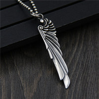 C&R Real 925 Sterling Silver Pendant Women Necklace Carved wings feather men's pendants Lover's Thai Silver Fine Jewelry