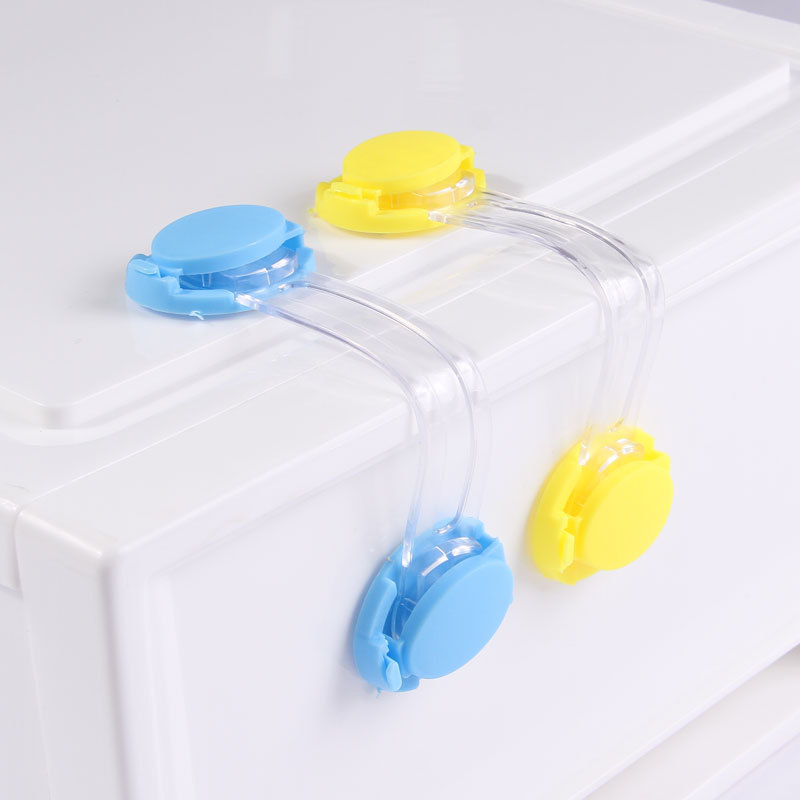 2019 New Candy Toddler Baby Safety Lock Kids Drawer Cupboard Fridge Cabinet Door Lock Plastic Cabinet Locks Blue/Yellow