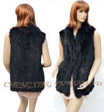 CX-G-B-76B  Natural Fashion Hand Knitted Real Rabbit Fur Vest ~ DROP SHIPPING
