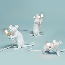 Postmodern Resin Animal Rat Mouse Table Lamp Small Mini Mouse Cute LED Night Lights Home Decor Desk Lights Bedside Lamp(China)