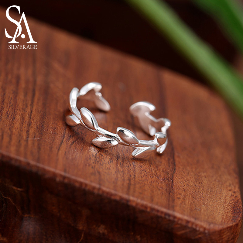 <font><b>Men</b></font> <font><b>Rings</b></font> <font><b>925</b></font> <font><b>Sterling</b></font> Adjustable Olive Branch <font><b>Rings</b></font> <font><b>For</b></font> Women Vintage <font><b>Silver</b></font> Feather Jewelry Peace <font><b>Ring</b></font> <font><b>For</b></font> Women Best Gifts image