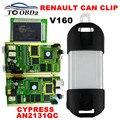 Отличное качество ПЕЧАТНОЙ ПЛАТЫ Полный Чип AN2131QC Последние V160 Renault Может Закрепить Диагностический Интерфейс Multi-Function CAN Clip Для Renault