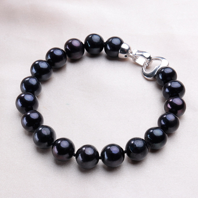 Good Quality Black Big 9-10 mm 100% Natural Freshwater Pearl Beaded Bracelets For Women Fashion Vintage Platinum Plated