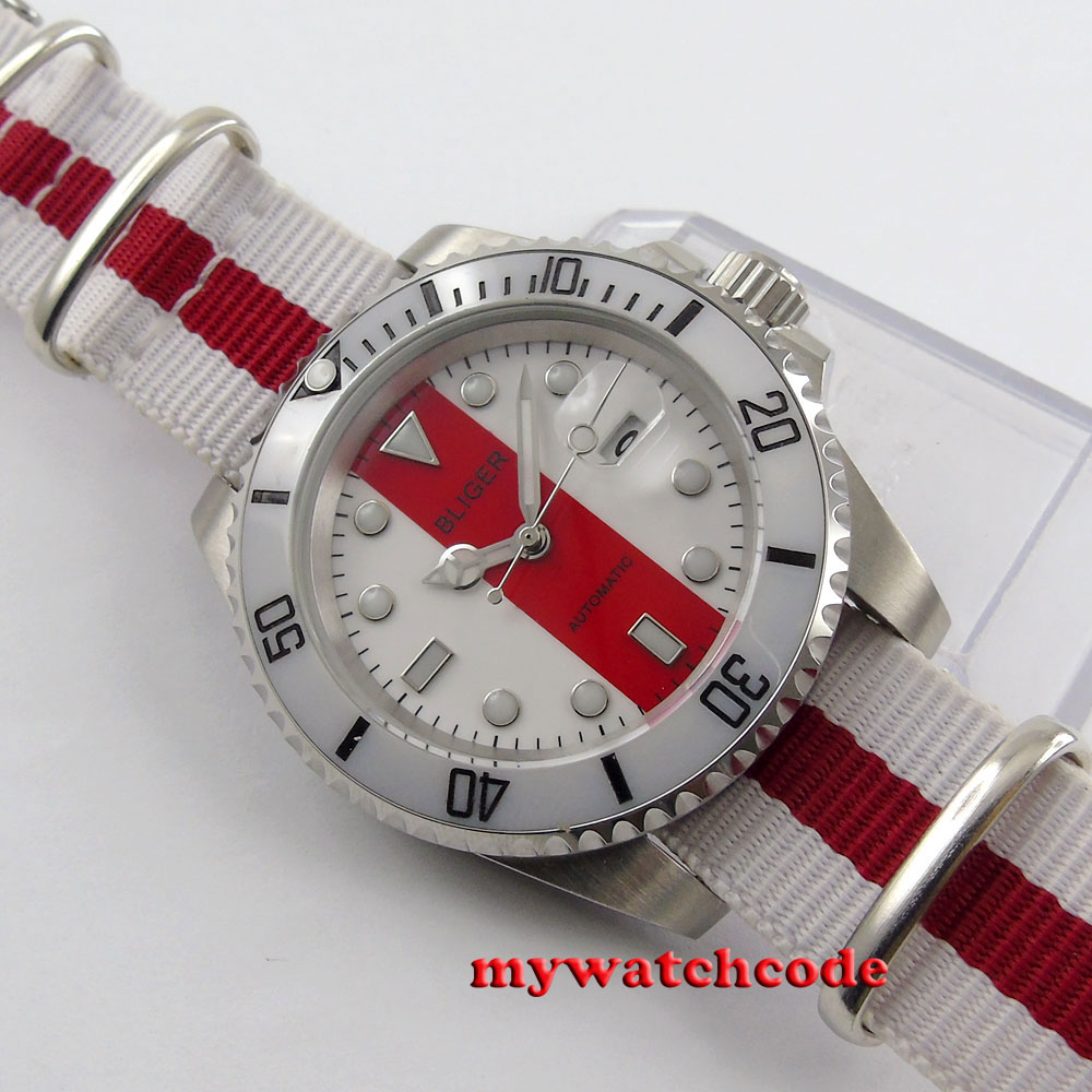 Bliger red & white dial nylon strap sapphire crystal automatic mens watch P125