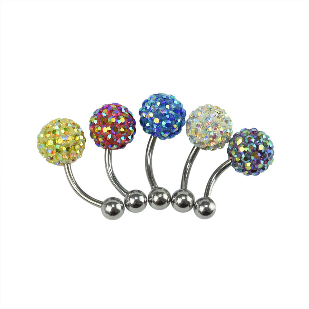 Belly Piercing Button Rings Gem Cz Ball With 16Mm Navel -9929