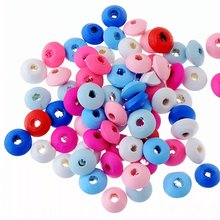 100pcs 12x6mm Wood Dye Wooden Abacus Spacer Beads For Baby DIY Crafts Kids Toys Spacer Beading Bead Jewelry Making DIY