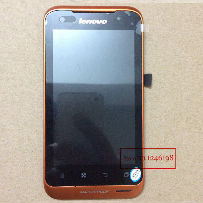 Orange Color LCD Display +Digitizer Touch Screen For Lenovo A660 Assembly with frame/bezel Free shipping