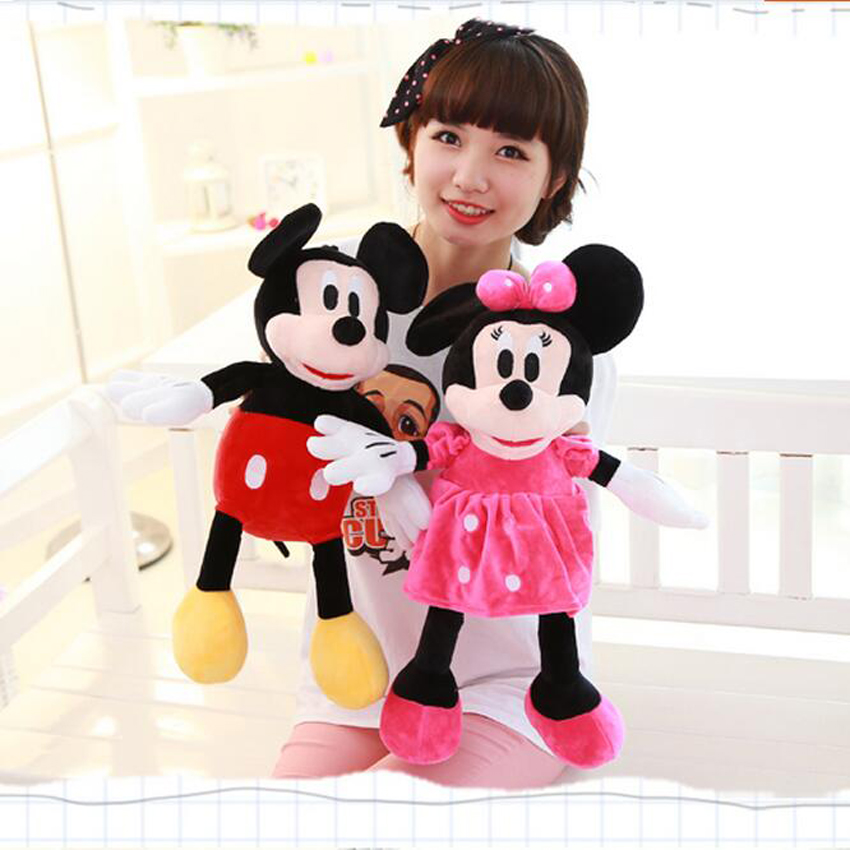 цена на 1pc 50cm Classical Plush Toy Stuffed Animal Mickey And Minnie Mouse Stuffed Doll For Children's Gift Christmas Gift