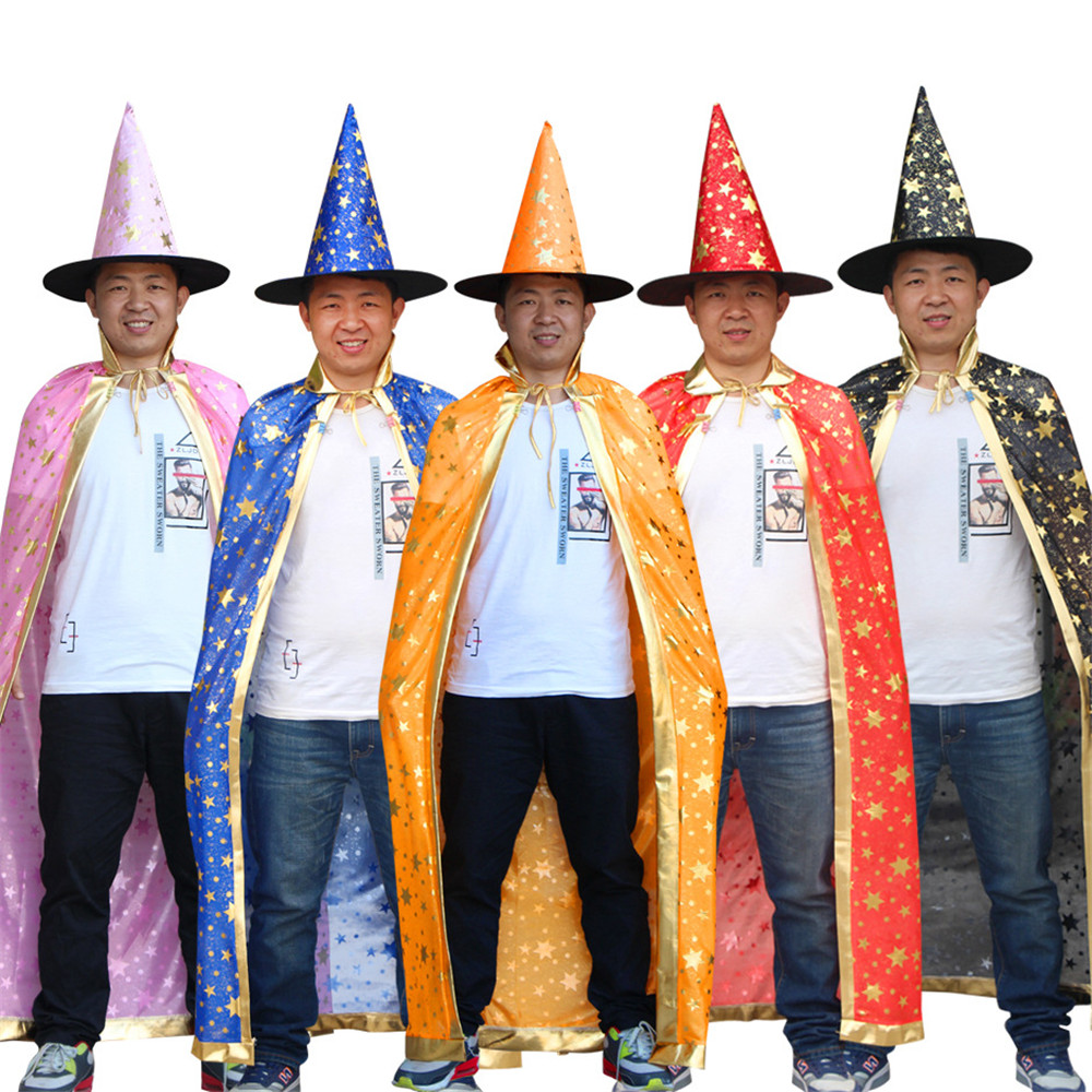 Women's Costumes Sporting Adult Cosplay Halloween Cloak/hat Full Suit Witch Wizard Death Cloak Star Print Multicolor Carnival Purim Stylish Cloak Costumes Reasonable Price